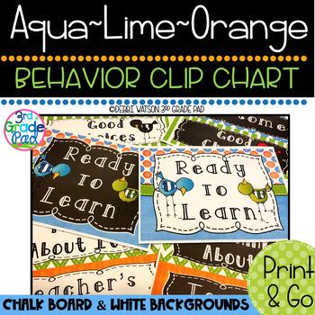Aqua, Lime & Orange Behavior Clip Chart: Mix & Match Chalkboard/White Centers