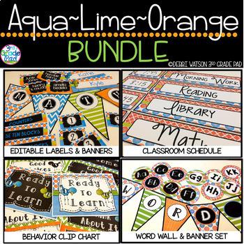 Aqua, Lime & Orange Bundled Classroom Set: Mix & Match White/Chalkboard