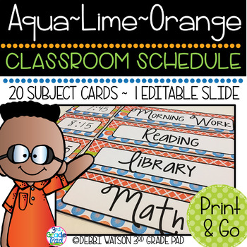 Aqua, Lime & Orange Classroom Schedule Cards with Editable Option Included