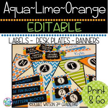 Aqua, Lime & Orange Editable Labels Mix & Match Chalkboard/White Centers