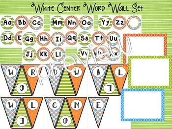 Aqua, Lime & Orange Word Wall Mix & Match Chalkboard/White Centers