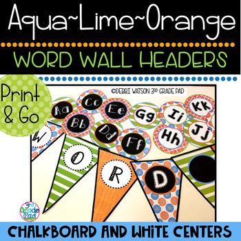 Aqua, Lime & Orange Word Wall Mix & Match Chalkboard/White