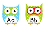 Aqua & Lime Polka Dot Owl Word Wall Labels