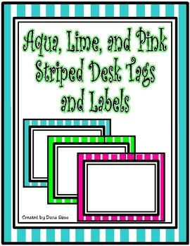Aqua, Lime, and Pink Desk Tags and Labels