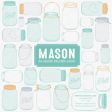 Aqua Mason Jars Clipart & Vectors - Ball Jar Clipart