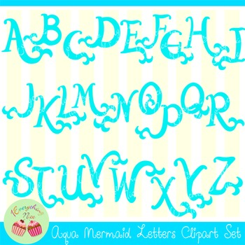 Aqua Mermaid Letters Clipart Set