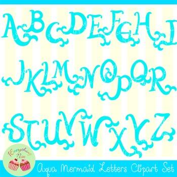 Aqua Mermaid Letters Clipart Set