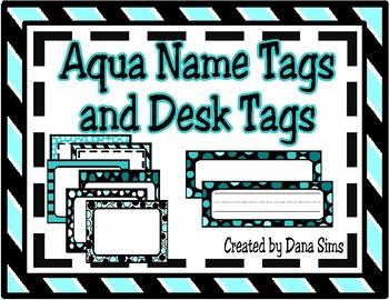 Aqua Name Tags and Desk Tags