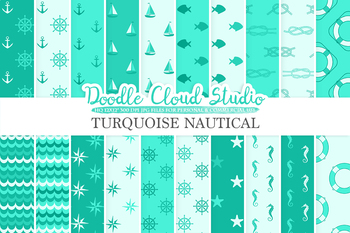 Aqua Nautical digital paper, Seal Turquoise patterns, Ocean Steering wheel