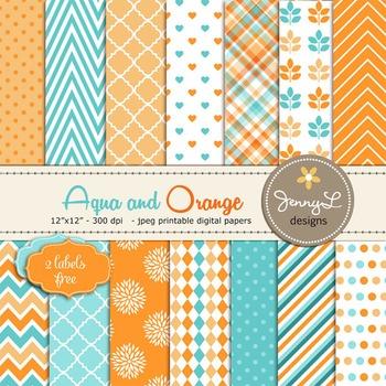 Aqua, Orange, Teal, Turquiose Digital Papers