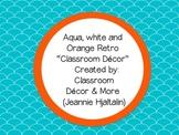 Aqua, Orange & White Retro