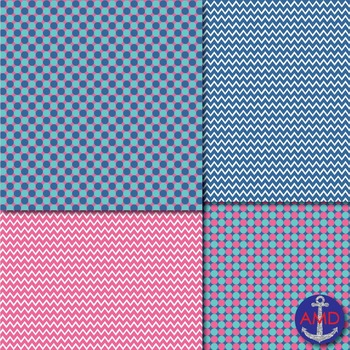 Aqua, Pink & Blue Chevron, Polka Dot & Striped Papers for Backgrounds and More