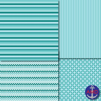Cool Blue Chevron, Polka Dot & Striped Papers for Backgrounds and More