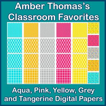Aqua, Pink, Yellow, Grey and Tangerine  Digital Papers