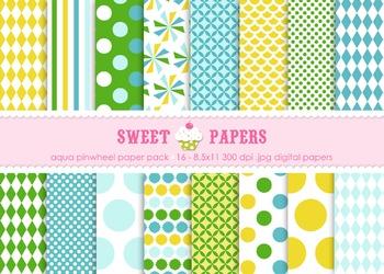 Aqua Pinwheel Digital Paper Pack - by Sweet Papers