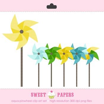 Aqua Pinwheels Digital Clip Art Set - by Sweet Papers