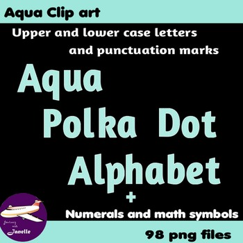 Aqua Polka Dot Alphabet Clip Art + Numerals, Punctuation and Math Symbols