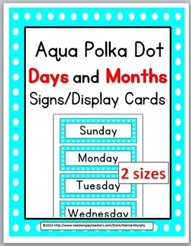 Polka Dot Theme Days of the Week & Months of the Year Sign