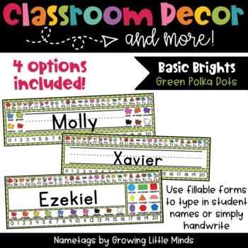 Aqua Polka Dot Nametags Classroom Decor