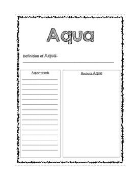 Aqua Prefix Worksheet