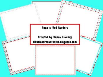 Aqua & Red Borders