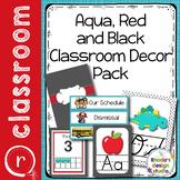 Classroom Decor Bundle Editable Red and Aqua Back to School
