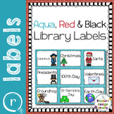 Library Label Cards Aqua Red and Black