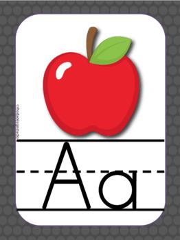 Print and Cursive Alphabet Cards Aqua Red and Black