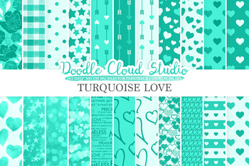 Aqua Romantic digital paper, Valentine's day Turquoise patterns,  Love, Roses