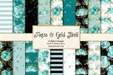 Aqua Teal and Gold Floral Digital Paper, printable flower