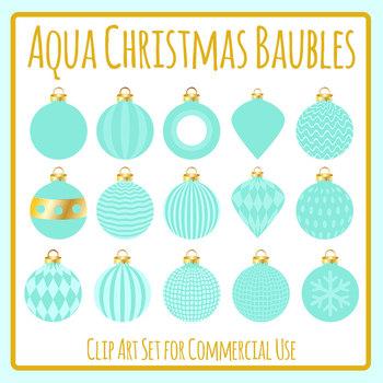 Aqua / Turquoise Christmas Bauble / Ball Decorations Clip Art Set