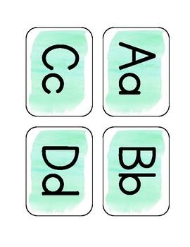 Aqua Watercolor Word Wall Alphabet