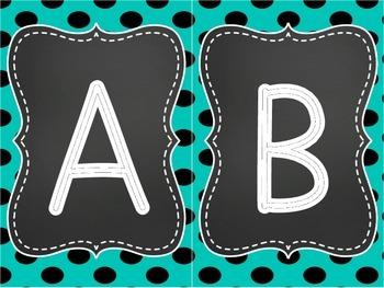 Aqua Word Wall Letters
