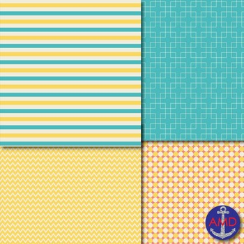 Aqua, Yellow & Pink Chevron, Polka Dot & Striped Papers for Backgrounds and More
