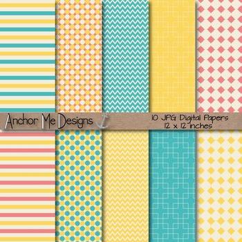 Aqua, Yellow & Pink Chevron, Polka Dot & Striped Papers fo