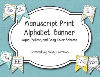 Aqua, Yellow, and Gray Color Scheme Manuscript Print Alpha