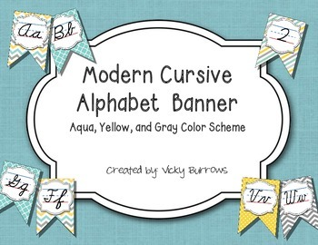 Aqua, Yellow, and Gray Color Scheme Modern Cursive Alphabet Banner