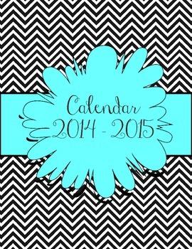 Aqua and Black Chevron Calendar July 2014 - July 2015