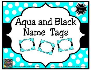 Aqua and Black Name Tags
