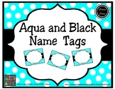 Aqua and Black Name Tags