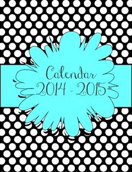 Aqua and Black Polka Dot Calendar July 2014 - July 2015