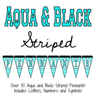Aqua and Black Striped Pennants