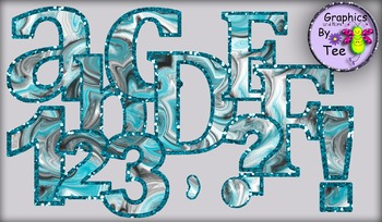 Aqua and Black Swirl Hurricane Letters and Numbers Clipart