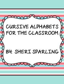 Aqua and Coral Cursive Alphabet