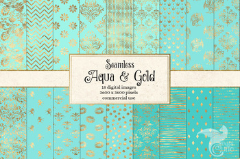 Aqua and Gold Digital Paper, seamless turquoise patterns