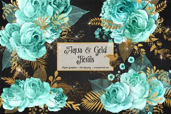Aqua and Gold Floral Clipart
