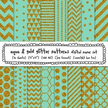 Aqua and Gold Glitter Digital Paper, Blue Gold Glitter Patterns Backgrounds