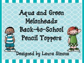 Aqua and Green Melonheadz Back-to-School Pencil Toppers