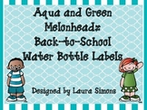 Aqua and Green Melonheadz Back-to-School Water Bottle Labels