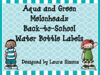 Aqua and Green Melonheadz Back-to-School Water Bottle Labels